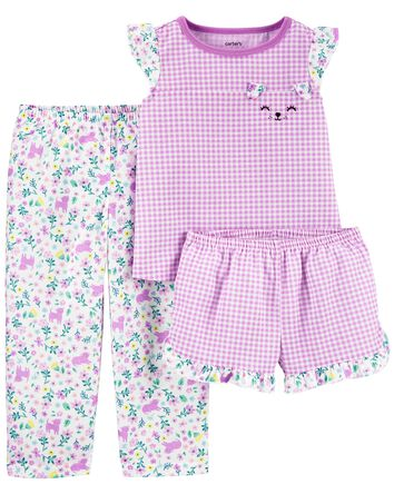 3-Piece Gingham Loose Fit PJs
