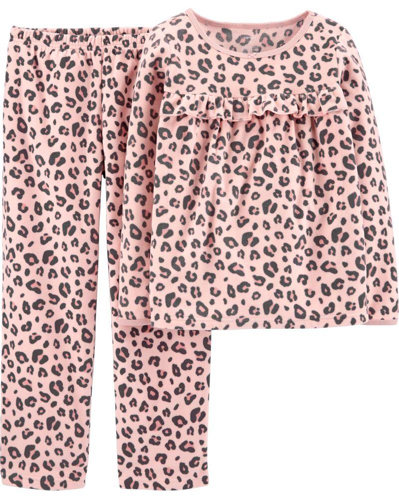 Pyjama 2 pièces en molleton à imprimé léopard, , hi-res