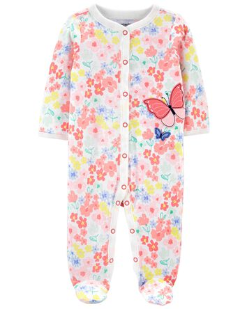 Butterfly Snap-Up Cotton Sleep & Pl...