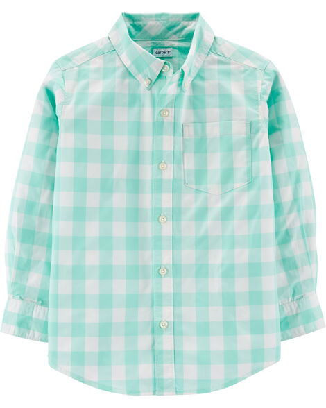 Gingham Button-Front Poplin Shirt