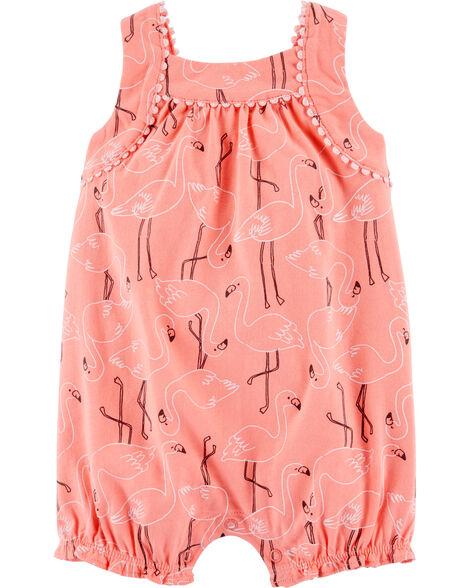 Crochet Flamingo Tank Jersey Romper