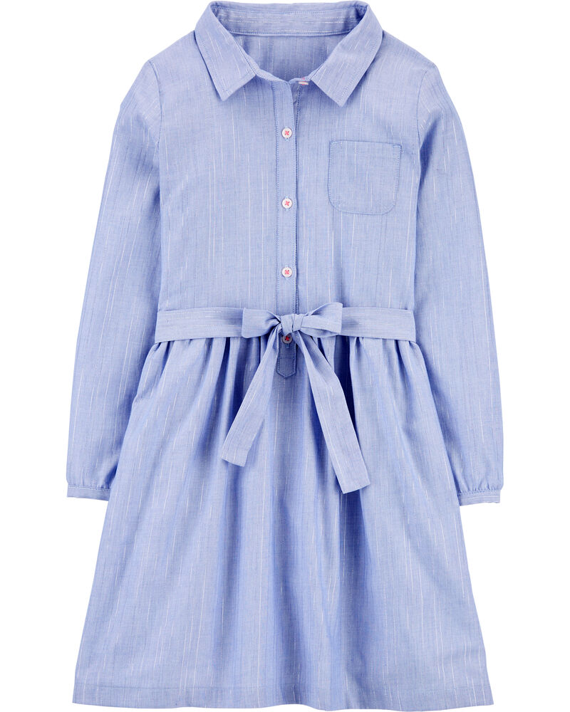 Chambray Shirt Dress, , hi-res