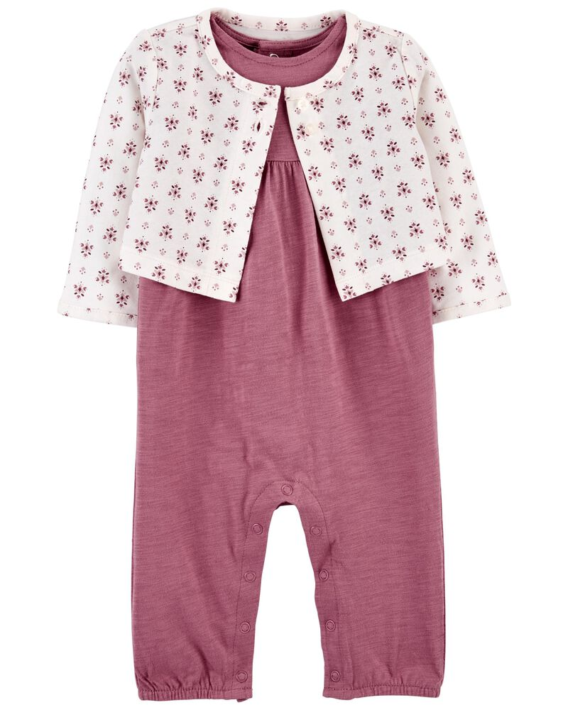 2-Piece Cardigan & Jumpsuit Set, , hi-res