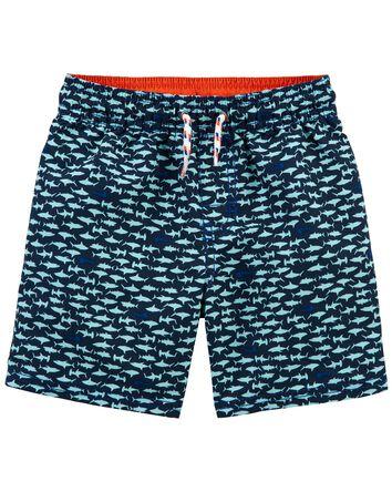 Shark Print Swim Trunks