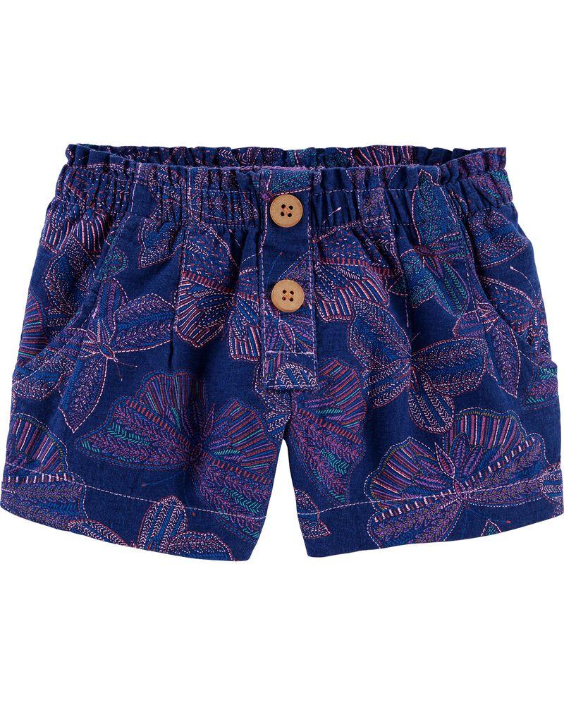 Butterfly Linen Shorts, , hi-res