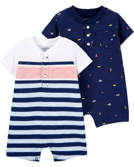 2-Pack Nautical Rompers