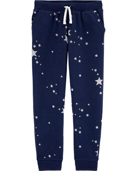Pantalon à logo et galaxie scintillante