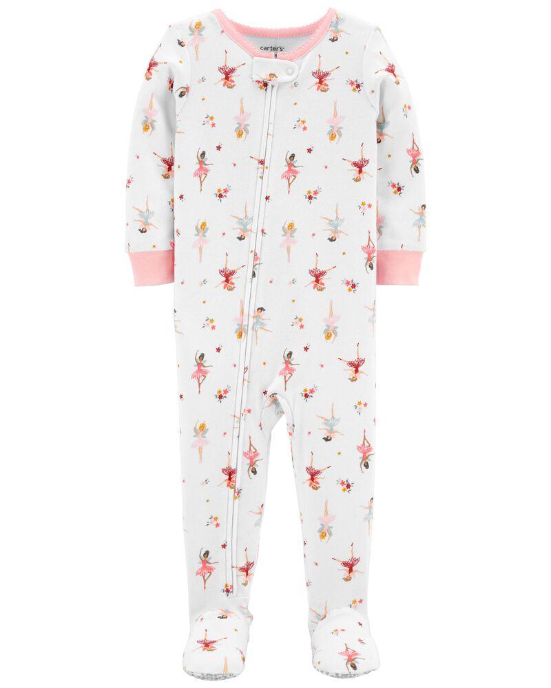 Pyjama 1 pièce à pieds en coton ajusté à ballerine, , hi-res