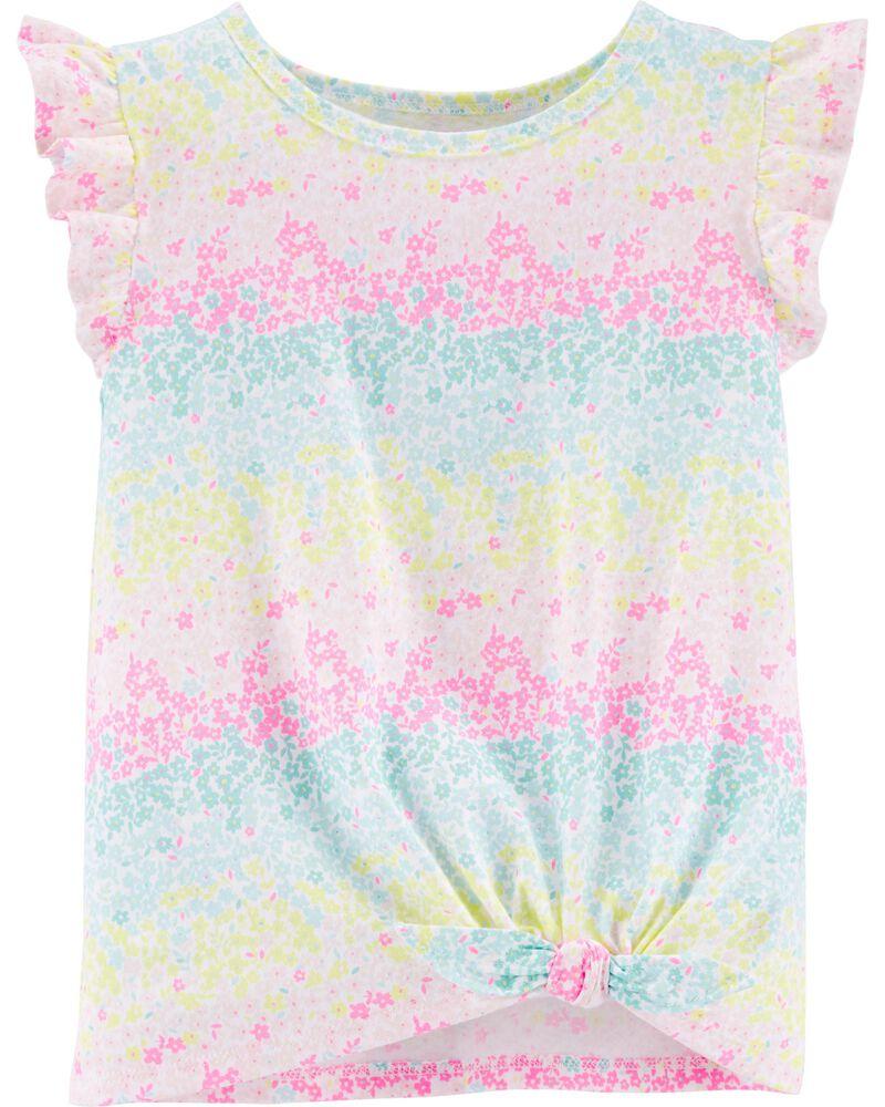 T-shirt en jersey à cœur arc-en-ciel et nœud devant, , hi-res