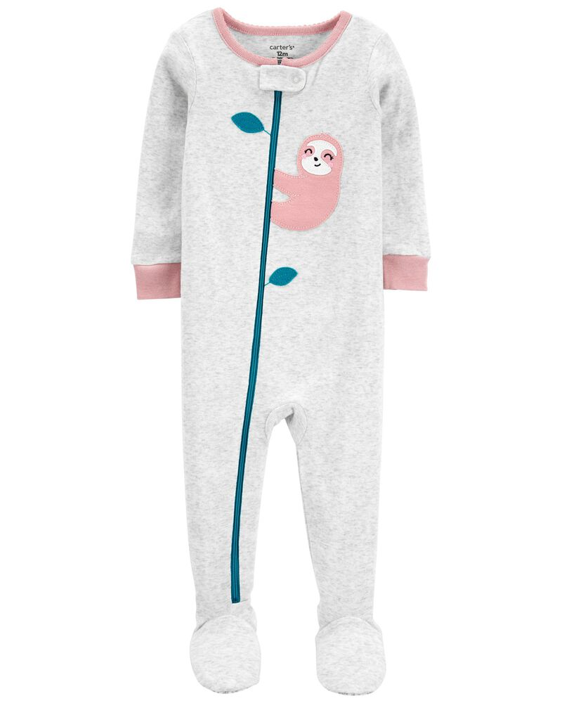 1-Piece Sloth 100% Snug Fit Cotton Footie PJs, , hi-res