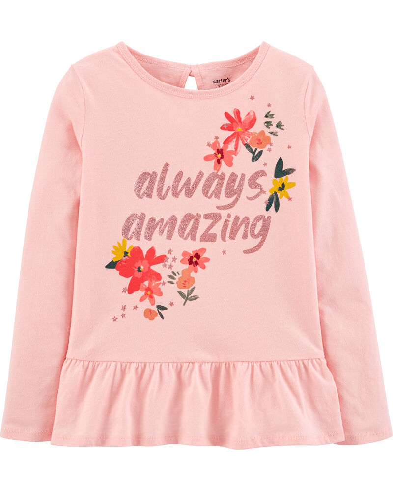 Always Amazing Jersey Peplum Tee, , hi-res