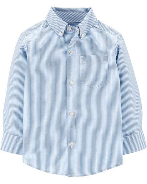 Chemise boutonnée en popeline rayée
