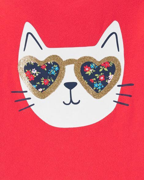 T-shirt volanté en jersey à chat