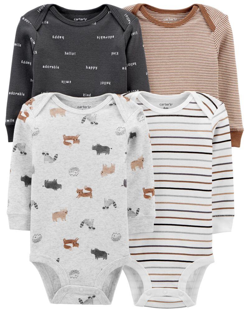 4-Pack Animal Print Original Bodysuits, , hi-res