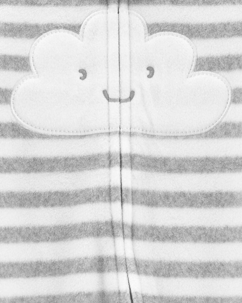Grenouillère en molleton à glissière motif nuages, , hi-res
