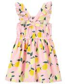 Lemon Flutter Linen Dress, , hi-res