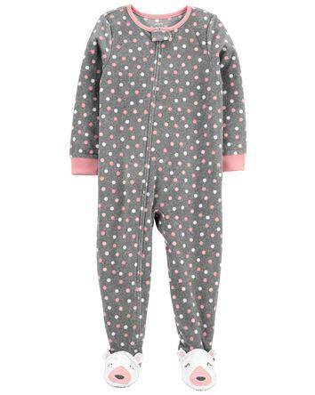 Pyjama 1 pièce en molleton à pois e...