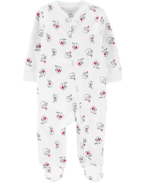 Valentine's Day Sloth Zip-Up Cotton Sleep & Play
