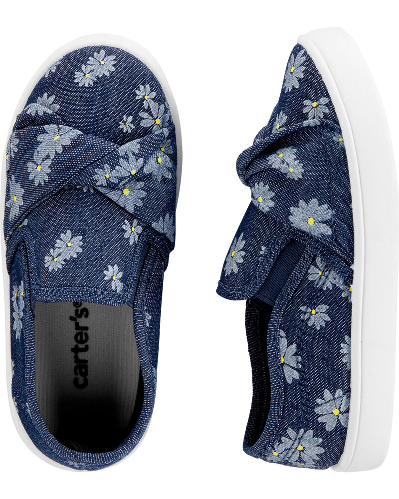 Floral Chambray Casual Sneakers, , hi-res
