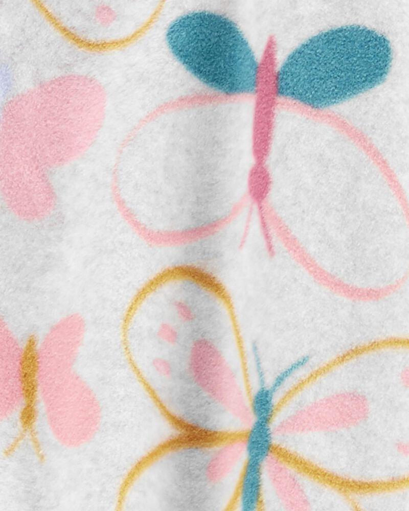 1-Piece Butterfly Fleece Footie PJs, , hi-res