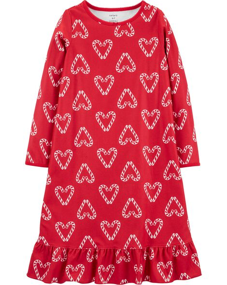 Heart Fleece Nightgown