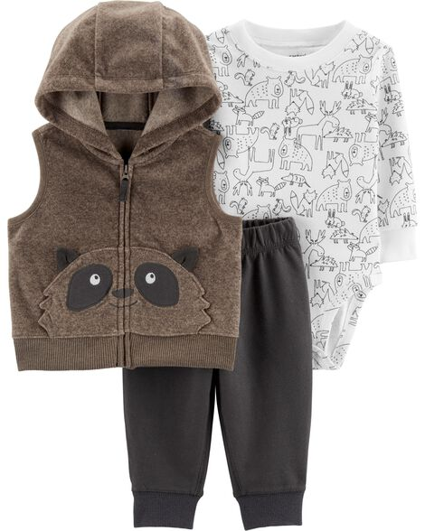 3-Piece Raccoon Little Vest Set