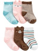 Emballage de 6 paires de chaussons en jersey bouclette motif animaux, , hi-res