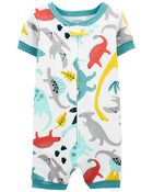 Pyjamas barboteuse 1 pièce en coton ajusté à dinosaure, , hi-res