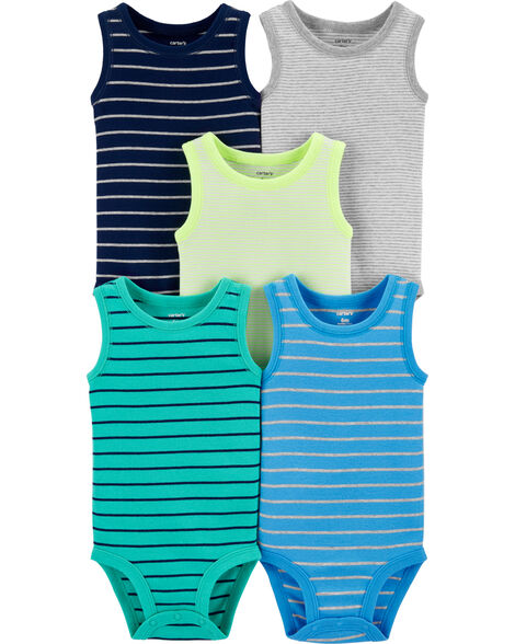 5-Pack Striped Tank Bodysuits