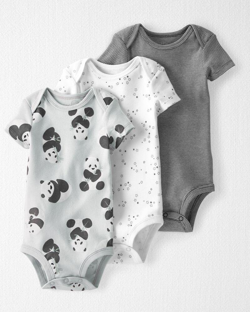 3-Pack Organic Cotton Rib Bodysuits, , hi-res