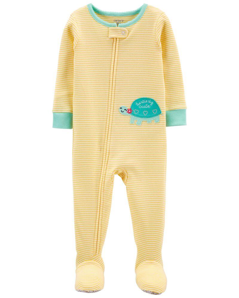 1-Piece Yellow 100% Snug Fit Cotton Footie PJs, , hi-res