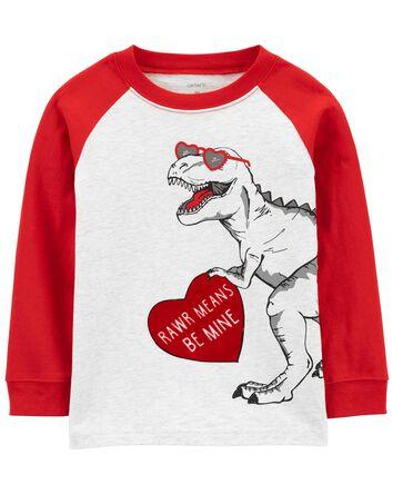 Valentine's Day Dinosaur Jersey Tee