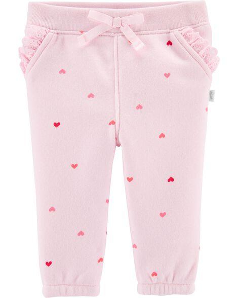 Pantalon en molleton à mini cœurs