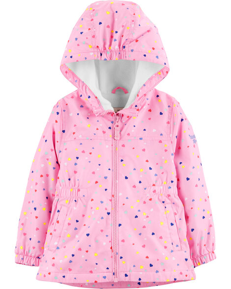 Lightweight Fleece-Lined Heart Print Jacket