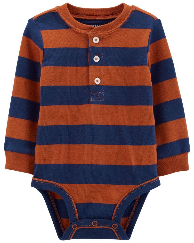Striped Long-Sleeve Bodysuit, , hi-res
