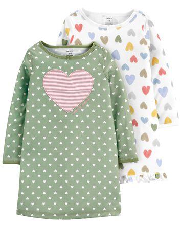 Emballage de 2 robes de nuit à cœur