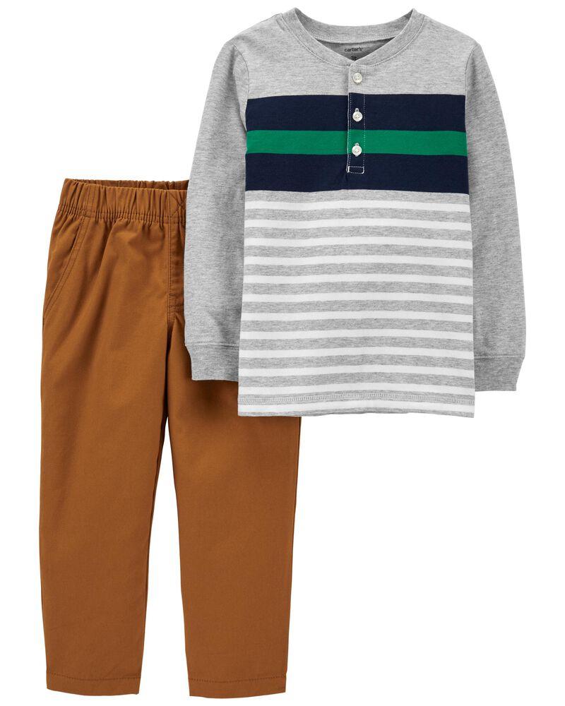 2-Piece Striped Henley & Pant Set, , hi-res