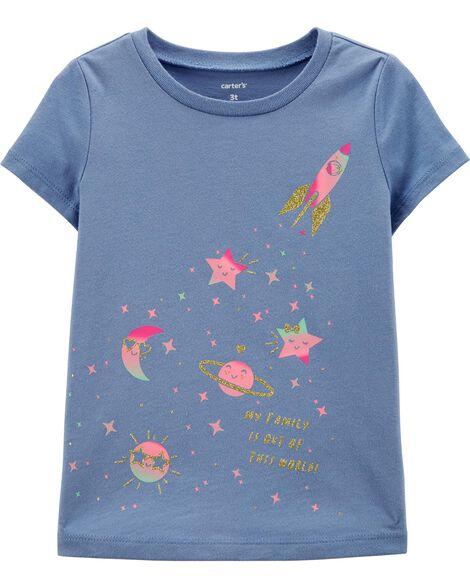 T-shirt en jersey motif espace scintillant