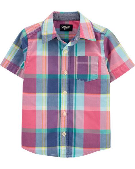 Plaid Short Sleeve Button-Front Shirt