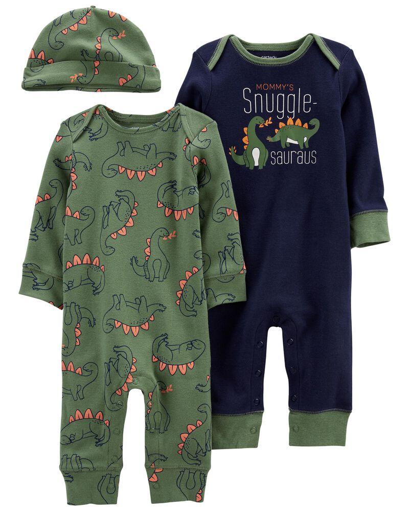 3-Pack Jumpsuits & Cap Set, , hi-res