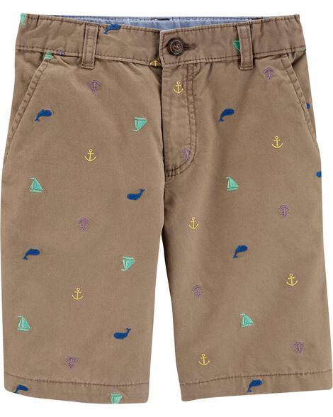 Khaki Flat-Front Shorts
