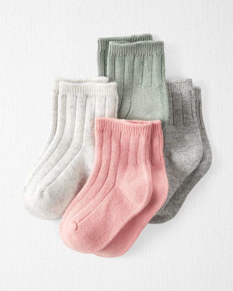 4-Pack Organic Cotton Rib Socks, , hi-res