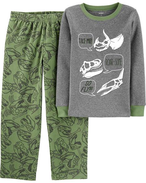 Pyjama 2 pièces en molleton et coton ajusté à motif de dinosaure