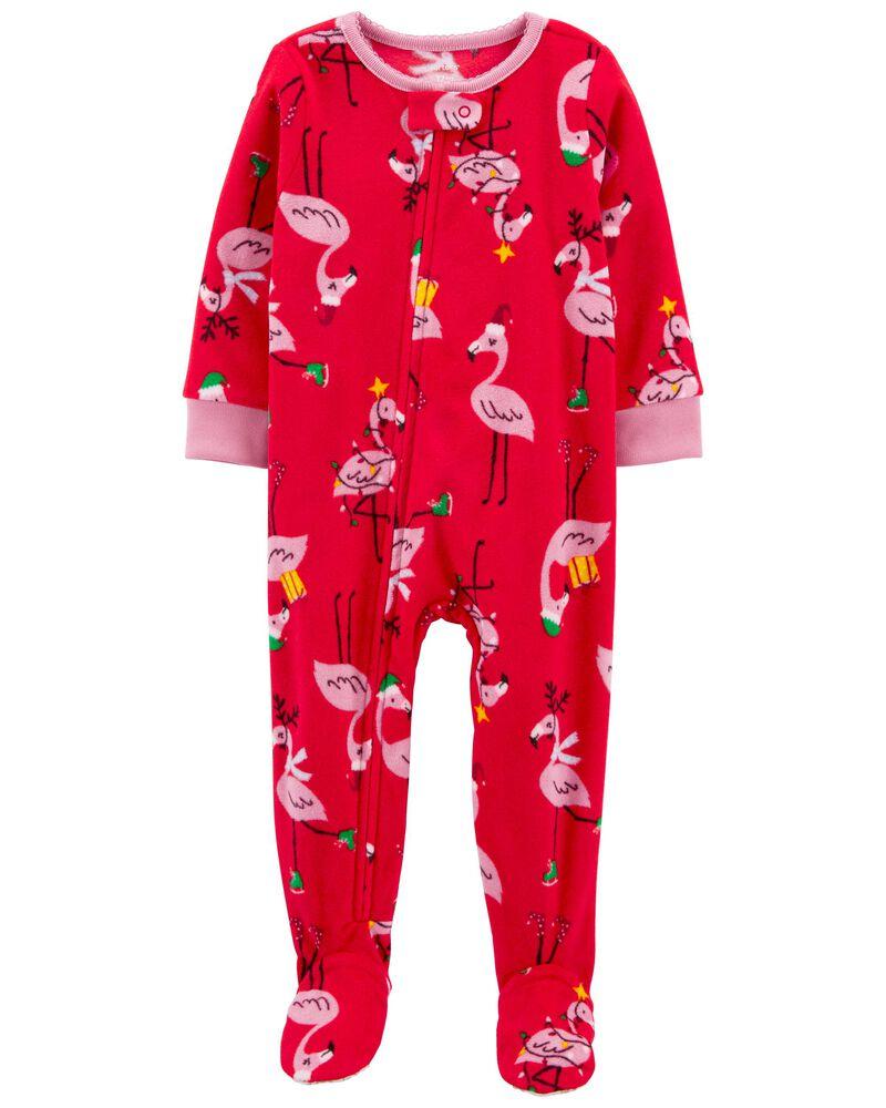 Pyjama 1 pièce en molleton avec pieds à flamant, , hi-res