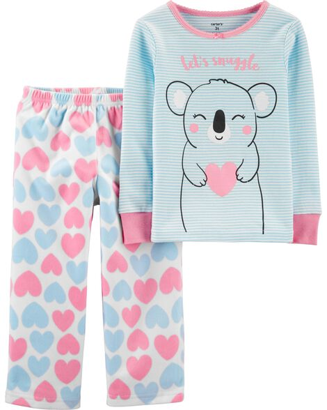 2-Piece Koala Snug Fit Cotton & Fleece PJs