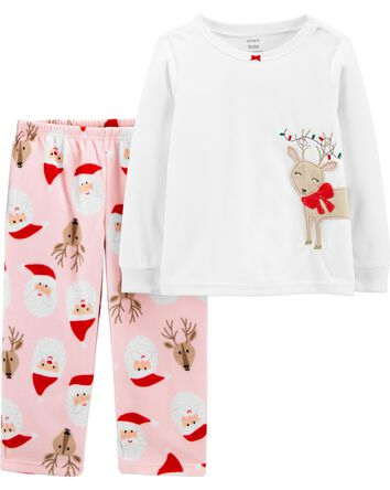 2-Piece Holiday Christmas Fleece PJ...