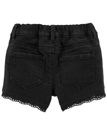 Eyelet Trim Knit Denim Shorts