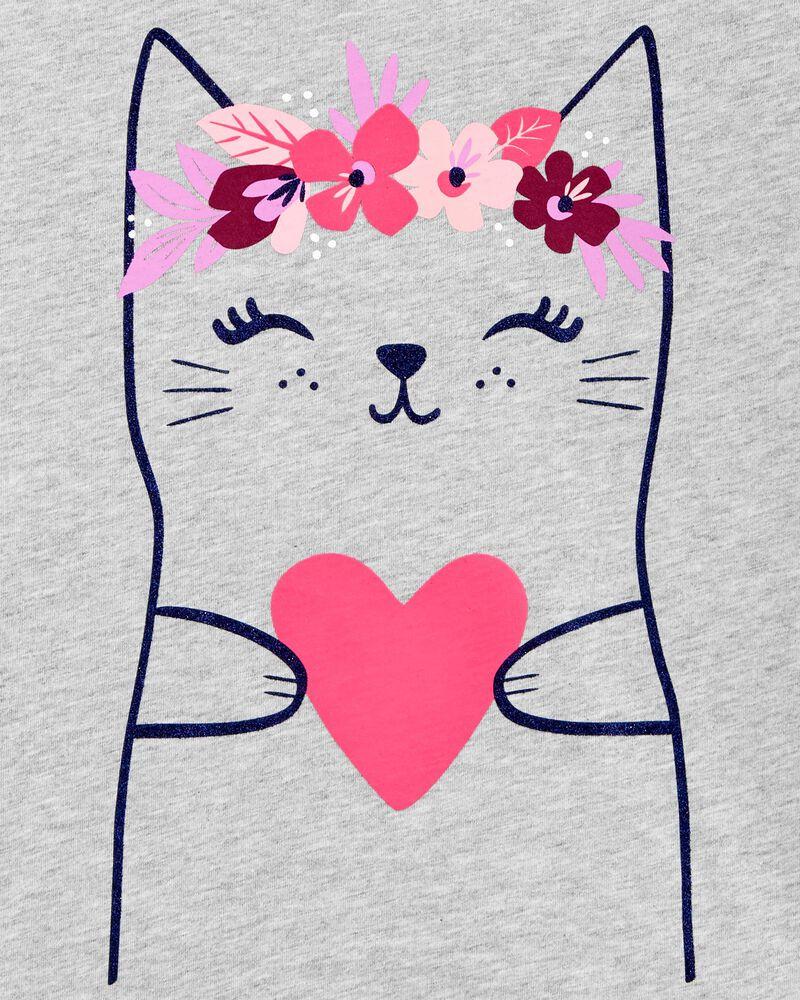 Haut en jersey avec chat et cœur, , hi-res