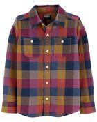 Chemise tissée boutonnée à motif écossais, , hi-res