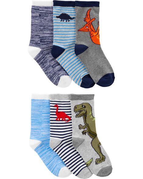 Emballage de 8 paires de chaussettes mi-mollet dinosaure
